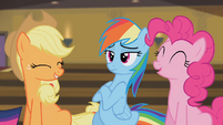 Pinkie Pie and Applejack laughing S4E08