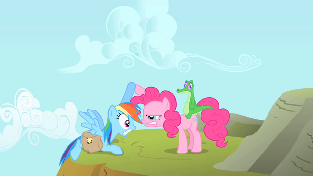 File:Pinkie Pie stares at Rainbow Dash while helping her up S1E25.png