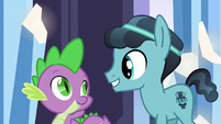 Spike and Crystal Hoof cheerful S6E16