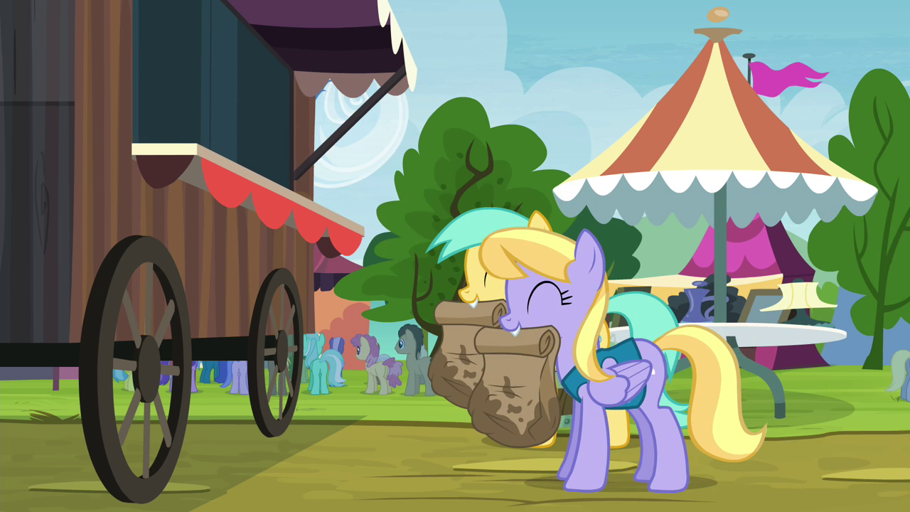 Image  Sunshower Raindrops and Cloud Kicker with paper bags S4E22png  My L # Sunshower Girl_152314