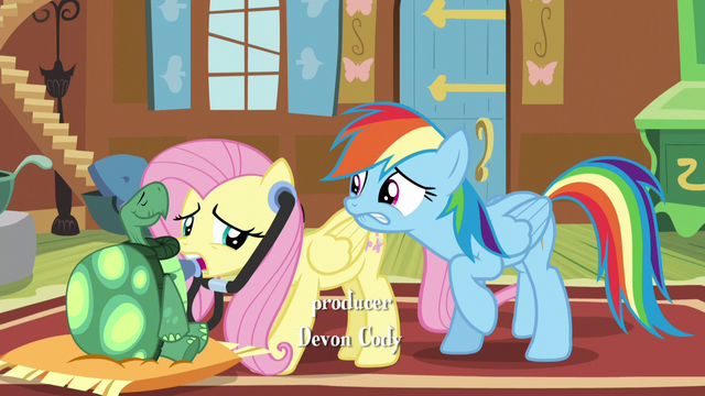 File:Rainbow biting her lip while Fluttershy examines Tank S5E5.png