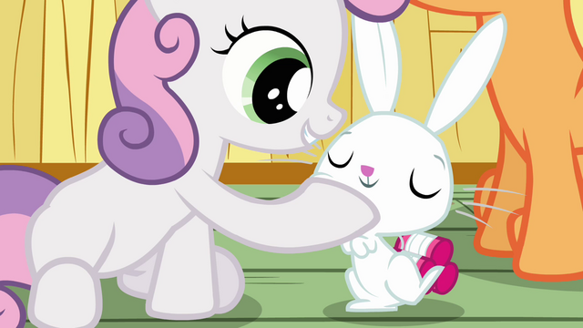 File:Sweetie Belle touching Angel S3E11.png
