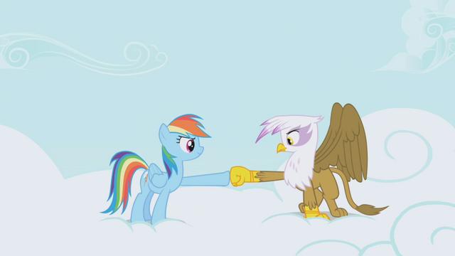 File:Rainbow and Gilda hoof-bump again S1E05.png
