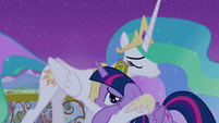 Twilight hugging Princess Celestia S4E25