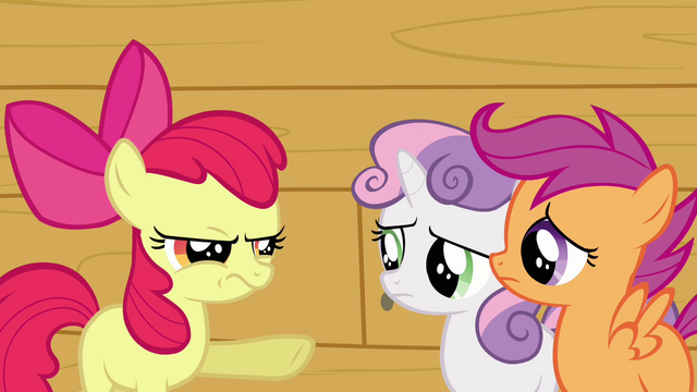 File:Apple Bloom pointing at Sweetie Belle and Scootaloo S3E04.png