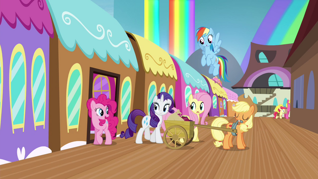 File:Mane 6 getting off the train S4E22.png