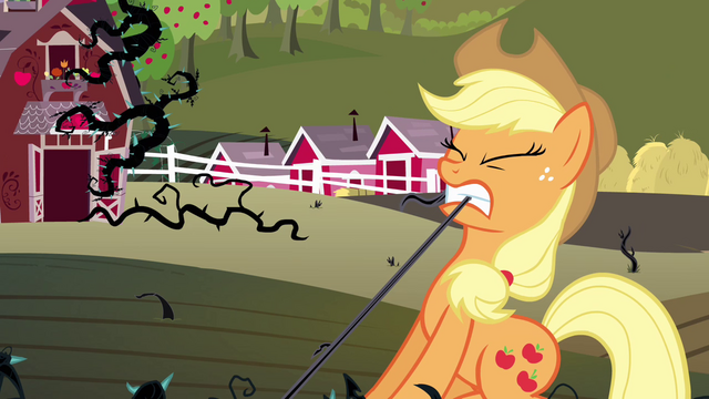 File:Applejack pulling on a vine S4E01.png