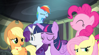 Ponies laughing at Spike S4E06
