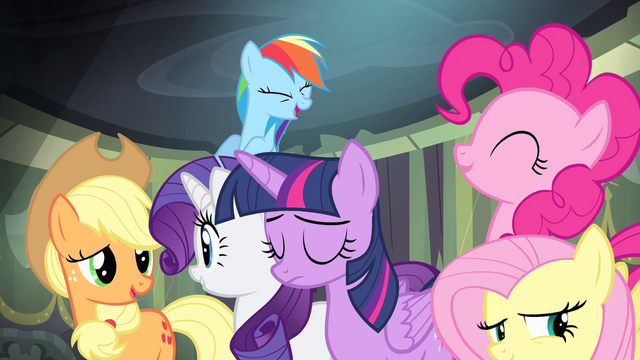 File:Ponies laughing at Spike S4E06.png