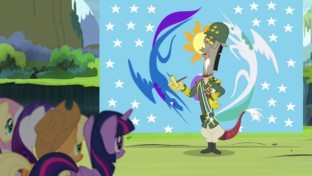File:Discord dressed in army uniform S4E25.png
