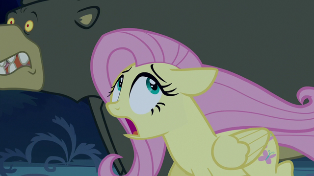 File:Fluttershy and Harry fleeing in terror S6E15.png