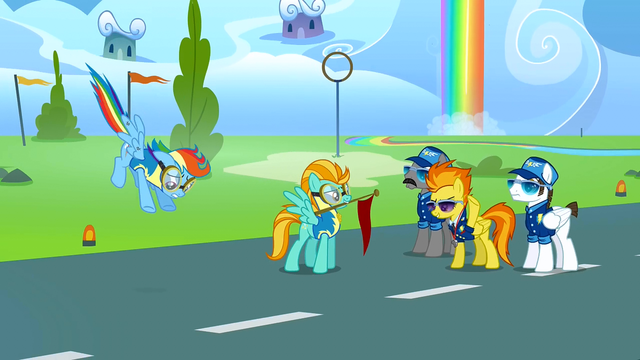 File:Rainbow and Lightning coming to Spitfire S3E7.png