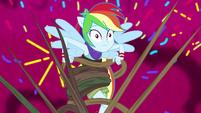 Explosion of sprinkles behind Rainbow Dash EG4