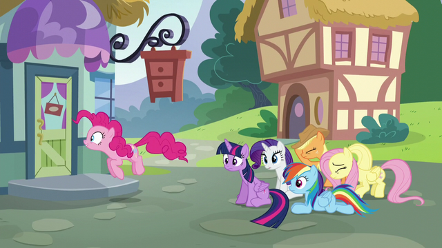 File:Pinkie and friends outside the furniture store S5E19.png