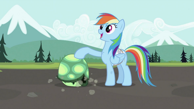 File:Rainbow Dash with Tank 2 S2E07.png