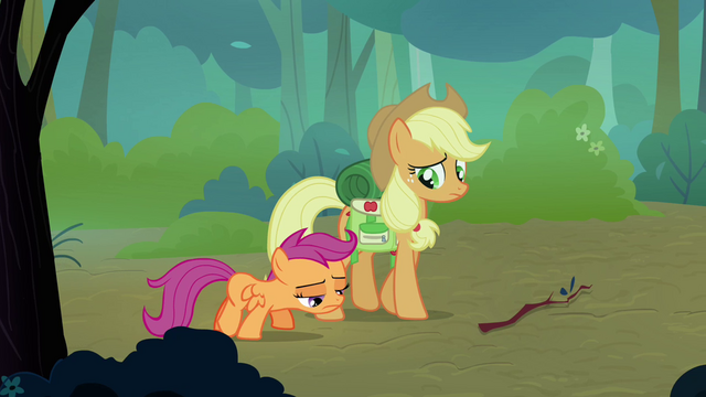 File:Scootaloo and Applejack walking together S3E06.png