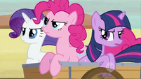 Pinkie Pie, Rarity, and Twilight mad at Applejack S2E14