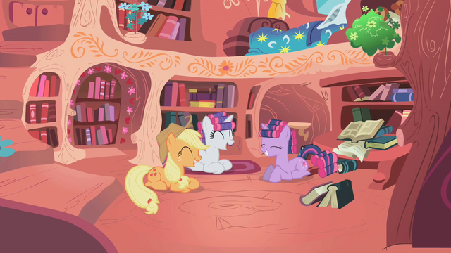 File:Applejack, Rarity, and Twilight laughing S01E08.png