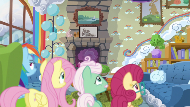 File:Rainbow and the Shys watch Zephyr go upstairs S6E11.png