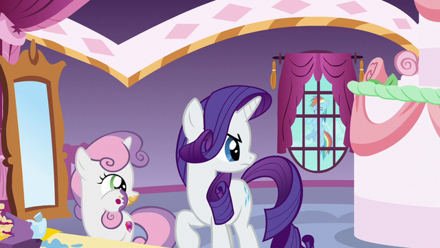 File:Rainbow laughing outside Rarity's window S6E15.png