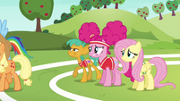 Applejack, Rainbow, and Snails leaving S6E18