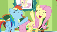 Fluttershy and Rainbow singing together S6E11