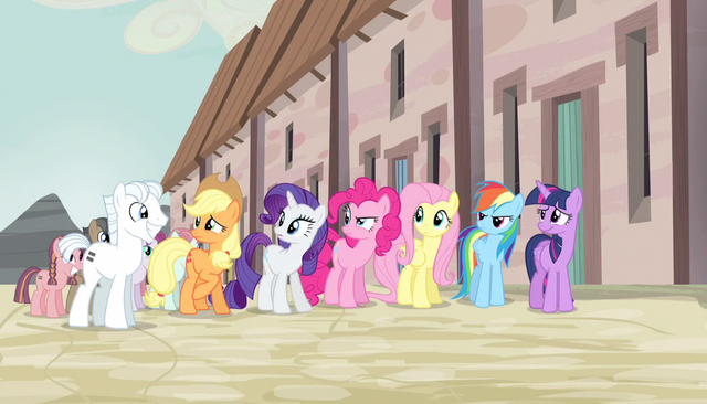 File:Mane Six uncomfortable next to Double Diamond S5E1.png