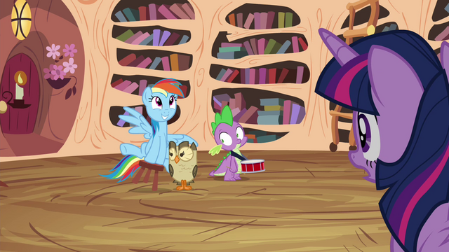 File:Owlowiscious and Spike notices Twilight looking at them S4E21.png