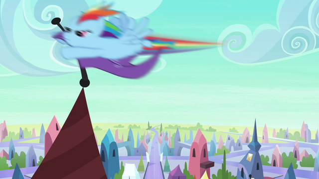 File:Rainbow Dash taking flag S3E1.png
