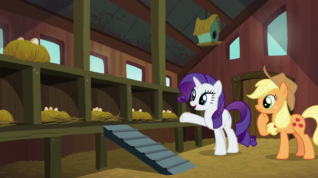 File:Rarity presents empty chicken coop to Applejack S6E10.png