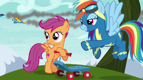 Scootaloo sees the Wonderbolts fly by S6E7