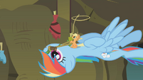 Tiny Applejack brandishing a lasso S1E09