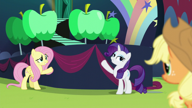 File:Rarity and Fluttershy showing Applejack their contribution S5E24.png