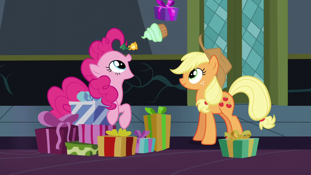 File:Applejack and Pinkie exchanging gifts S6E8.png