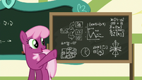 Cheerilee points at advanced physics equations S6E14