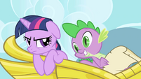 "Spike reading Celestia's request to ""make some friends"" S1E01"