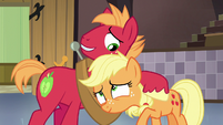 Big McIntosh hugging young Applejack S6E23