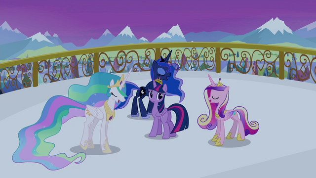 File:Celestia, Luna and Cadance singing around Twilight S4E25.png