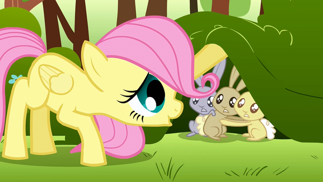 File:Filly Fluttershy calming the scared rabbits down S1E23.png