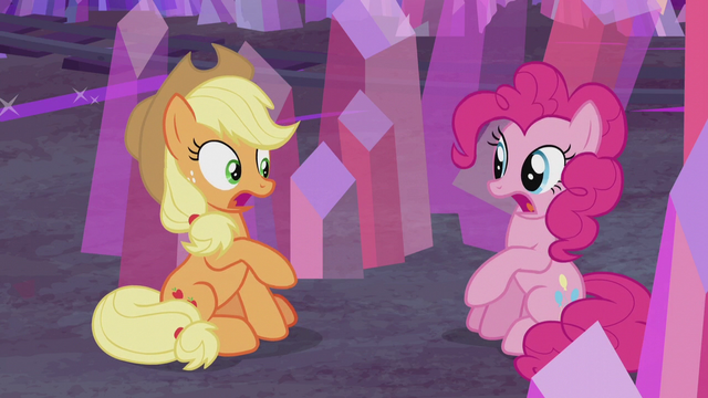 "File:Applejack and Pinkie ""you did?"" S5E20.png"