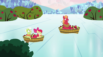 Granny Smith, Apple Bloom, and Big Mac on top of ice S03E10