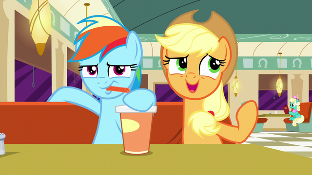 "File:Rainbow drinking; Applejack ""considers"" Twilight's remix to not be catchy S6E9.png"