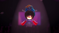 Rainbow's head and arms pop through the disco ball EGM5