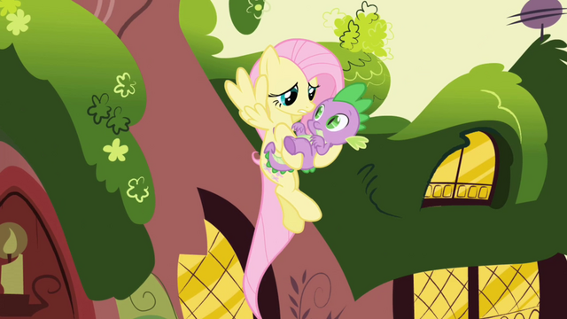 File:Hovering Fluttershy holding Spike S01E01.png