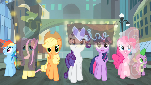 File:Main cast looking around Manehattan S4E08.png