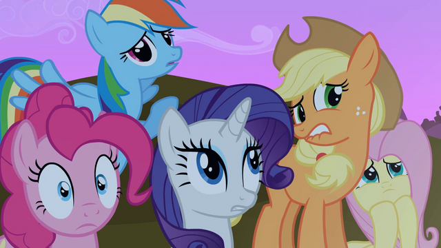 File:Applejack, Rainbow, Pinkie, Fluttershy and Rarity worried faces S2E3.png
