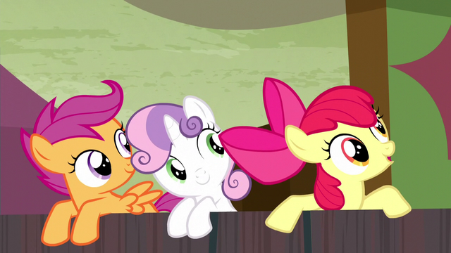 File:Cutie Mark Crusaders encourage Trouble Shoes S5E6.png