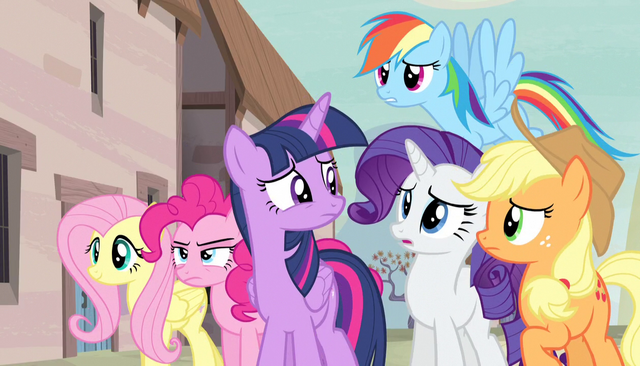 File:Everypony worried except Fluttershy S5E01.png