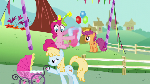 File:Pinkie Pie looks at a mare with her baby S5E19.png