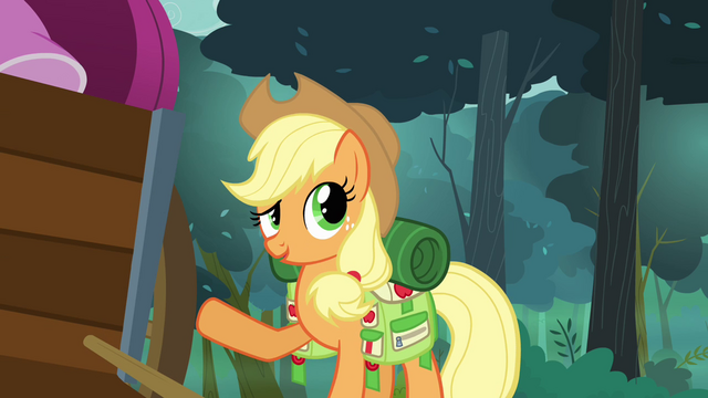 File:Applejack pointing at the cart full of Rarity's things S3E06.png